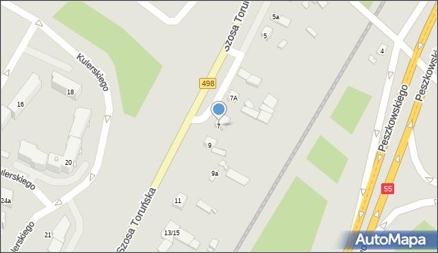 Grudziądz, Szosa Toruńska, 7, mapa Grudziądza