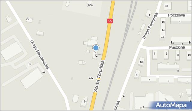 Grudziądz, Szosa Toruńska, 72, mapa Grudziądza