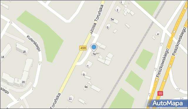 Grudziądz, Szosa Toruńska, 7A, mapa Grudziądza