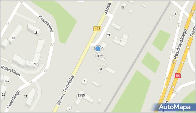 Grudziądz, Szosa Toruńska, 9, mapa Grudziądza