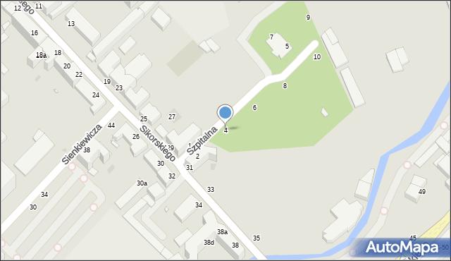 Grudziądz, Szpitalna, 4, mapa Grudziądza