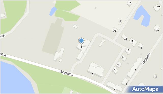 Kętrzyn, Szpitalna, 1, mapa Kętrzyn