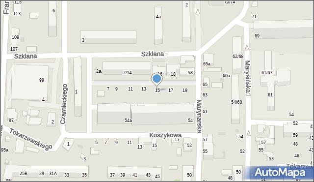 Łódź, Szklana, 15, mapa Łodzi