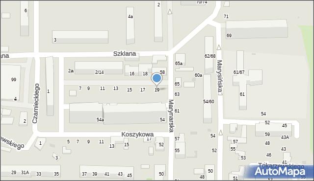 Łódź, Szklana, 19, mapa Łodzi