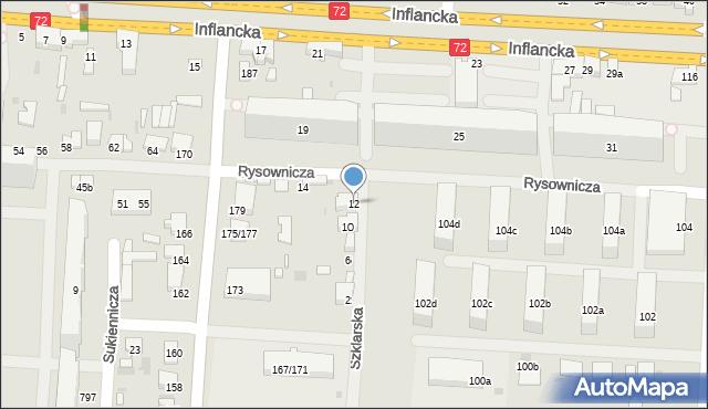 Łódź, Szklarska, 12, mapa Łodzi