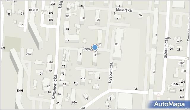 Łódź, Szewska, 3, mapa Łodzi