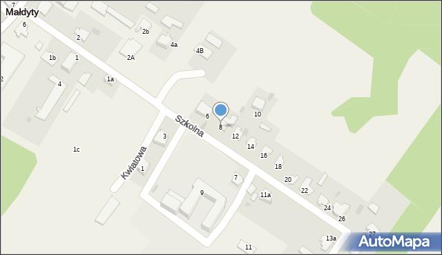 Małdyty, Szkolna, 8, mapa Małdyty