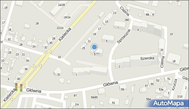 Radom, Szeroka, 3, mapa Radomia