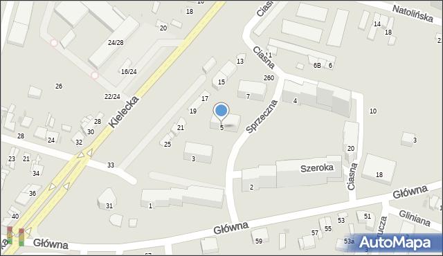Radom, Szeroka, 5, mapa Radomia