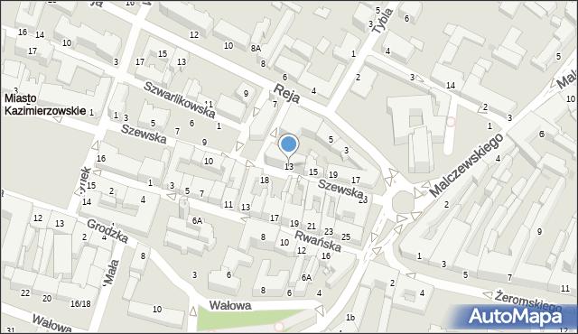 Radom, Szewska, 13, mapa Radomia