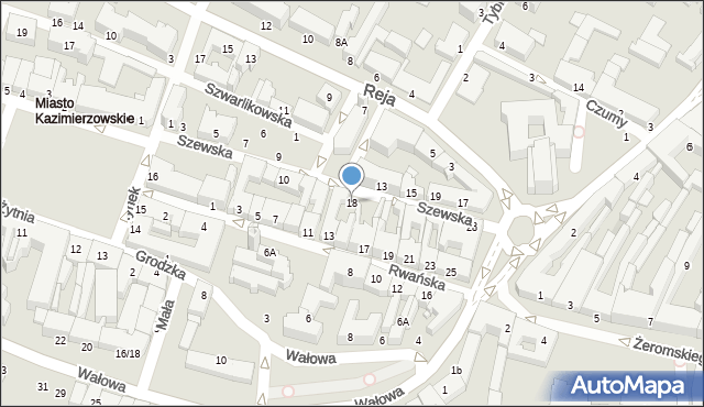 Radom, Szewska, 14, mapa Radomia