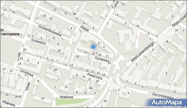 Radom, Szewska, 15, mapa Radomia