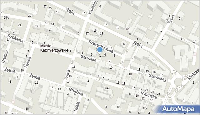 Radom, Szewska, 7, mapa Radomia