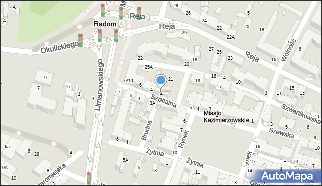 Radom, Szpitalna, 2, mapa Radomia
