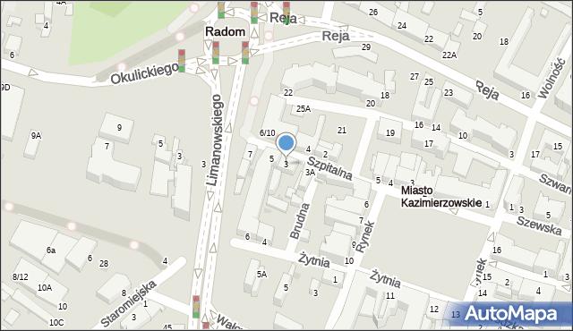 Radom, Szpitalna, 3, mapa Radomia