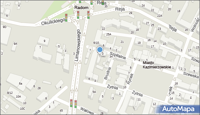 Radom, Szpitalna, 3b, mapa Radomia