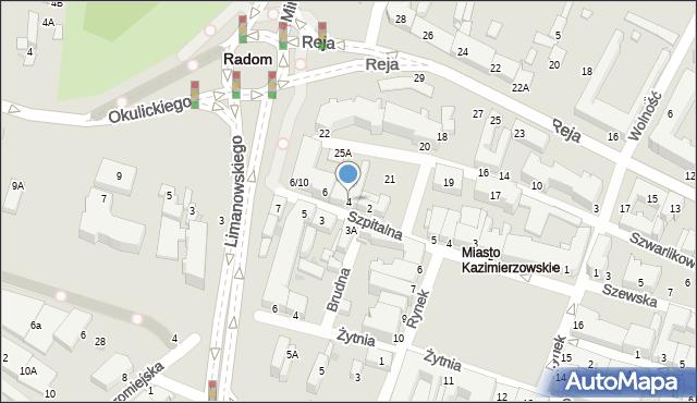 Radom, Szpitalna, 4, mapa Radomia