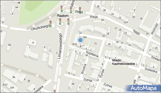 Radom, Szpitalna, 6, mapa Radomia