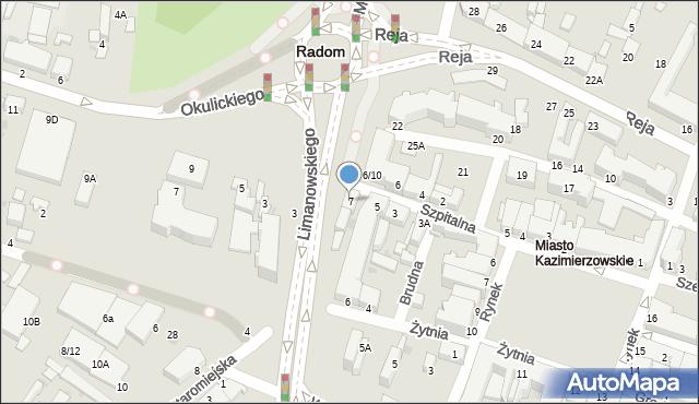 Radom, Szpitalna, 7, mapa Radomia