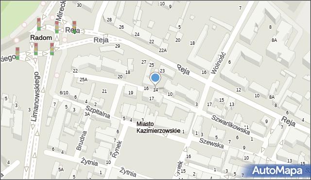 Radom, Szwarlikowska, 14, mapa Radomia