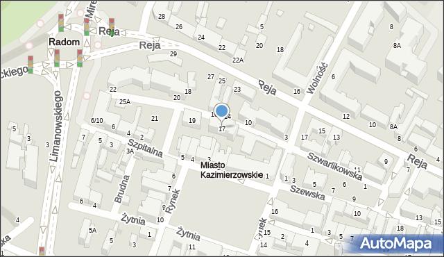Radom, Szwarlikowska, 17, mapa Radomia