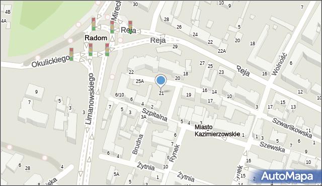 Radom, Szwarlikowska, 21, mapa Radomia