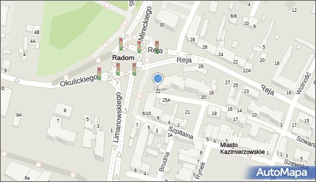 Radom, Szwarlikowska, 22, mapa Radomia