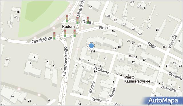 Radom, Szwarlikowska, 25B, mapa Radomia