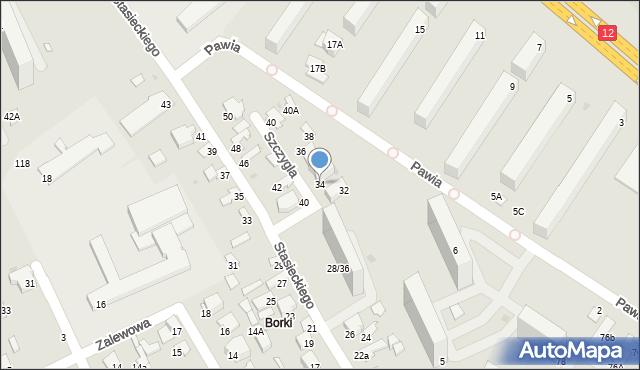 Radom, Szczygla, 34, mapa Radomia