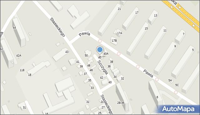 Radom, Szczygla, 40, mapa Radomia