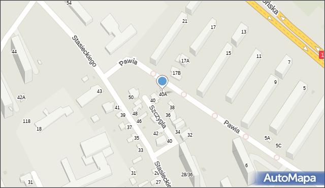 Radom, Szczygla, 40A, mapa Radomia