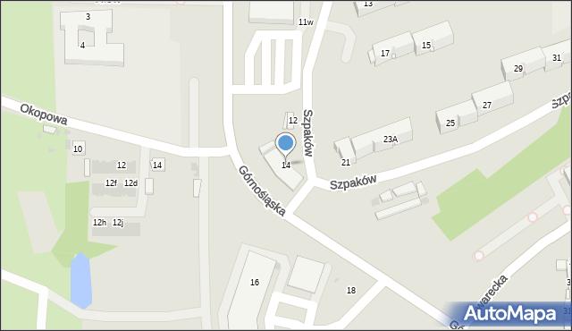 Ruda Śląska, Szpaków, 14, mapa Rudy Śląskiej