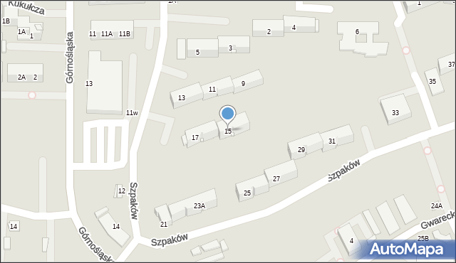 Ruda Śląska, Szpaków, 15, mapa Rudy Śląskiej