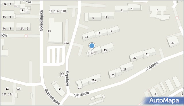 Ruda Śląska, Szpaków, 17, mapa Rudy Śląskiej
