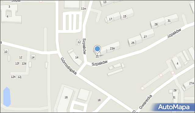 Ruda Śląska, Szpaków, 21, mapa Rudy Śląskiej
