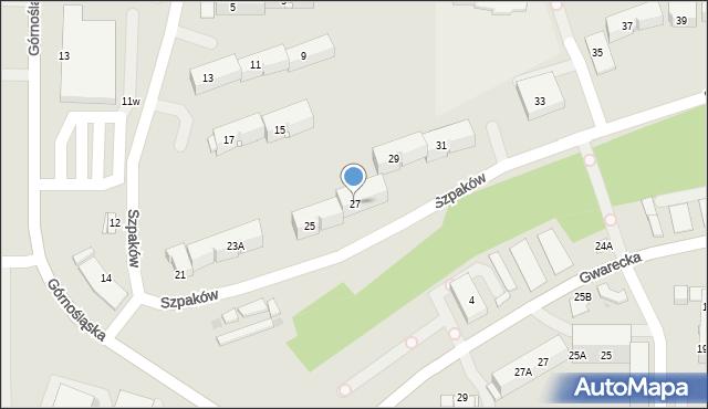 Ruda Śląska, Szpaków, 27, mapa Rudy Śląskiej