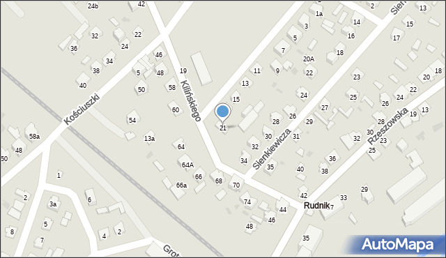 Rudnik nad Sanem, Szkolna, 21, mapa Rudnik nad Sanem