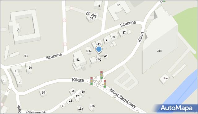 Rzeszów, Szopena Fryderyka, 47a, mapa Rzeszów