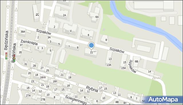 Sosnowiec, Szpaków, 11, mapa Sosnowca