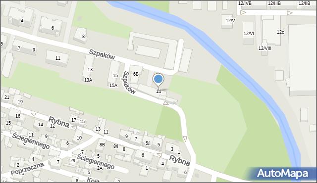 Sosnowiec, Szpaków, 14, mapa Sosnowca
