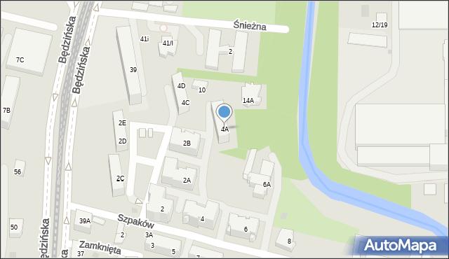Sosnowiec, Szpaków, 4A, mapa Sosnowca