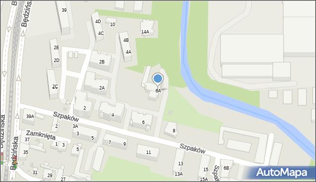 Sosnowiec, Szpaków, 6A, mapa Sosnowca