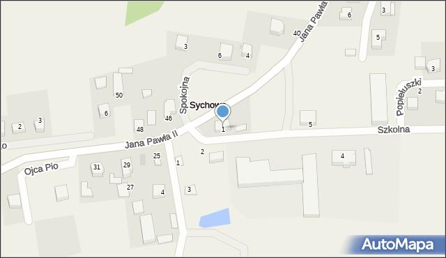 Sychowo, Szkolna, 1, mapa Sychowo
