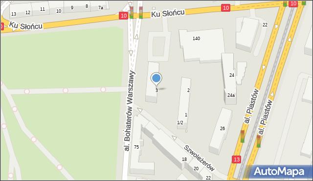 Szczecin, Szwoleżerów, 3, mapa Szczecina