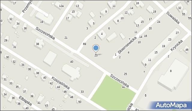Toruń, Szczecińska, 23, mapa Torunia