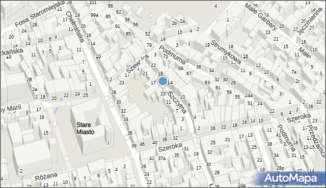 Toruń, Szczytna, 13, mapa Torunia
