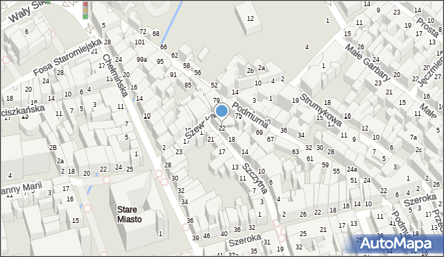 Toruń, Szczytna, 22, mapa Torunia