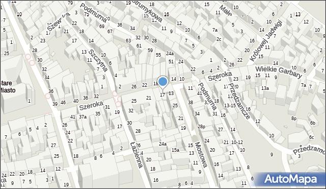 Toruń, Szeroka, 17, mapa Torunia