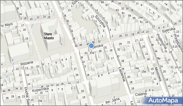 Toruń, Szeroka, 37a, mapa Torunia