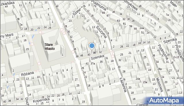 Toruń, Szeroka, 38, mapa Torunia